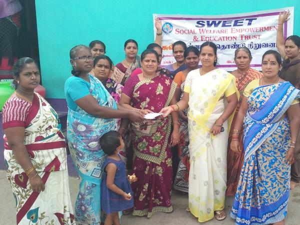 Women from SWEET in Tamil Nadu, India receiving their grant from RSWR Welfare and Education Trust (SWEET) was sponsored by the Irish group Quaker Faith in Action in 2017