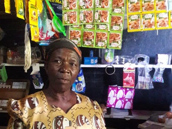 Mama Rebecah Amufa in her village shop